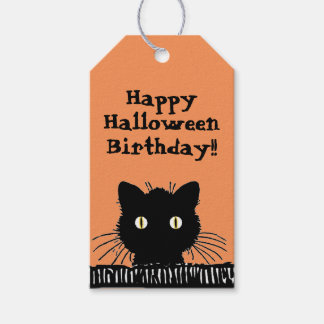 Retro Surprised Black Cat Halloween Birthday Gift Tags