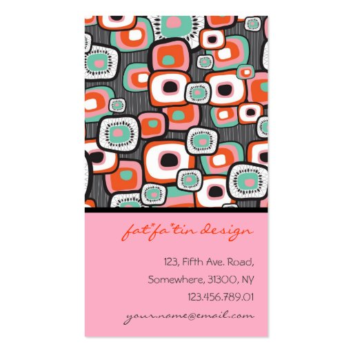 Retro Sushi Flower Squares Profile Card Double-Sided Standard Business Cards (Pack Of 100)