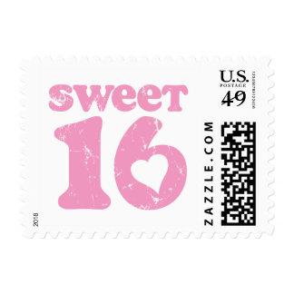 Retro Sweet 16 Postage Stamp