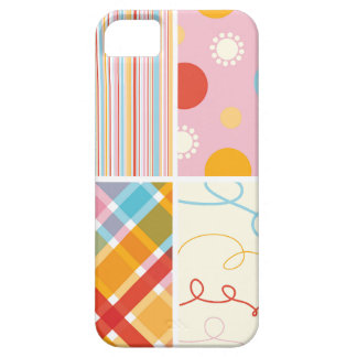 Retro Sweet Candy Pink Plaid Pattern Dot Scribbles iPhone SE/5/5s Case