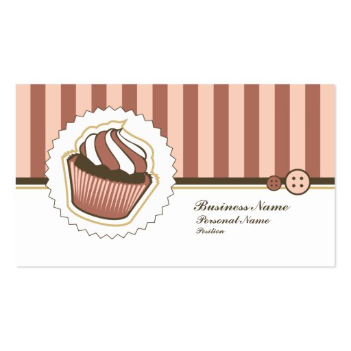 Retro Sweet Cupcake Bakery Business Card (front side)