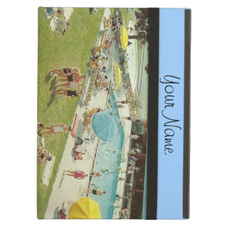 Retro Swimming Pool Summer Vacation Add Your Text iPad Air Cover