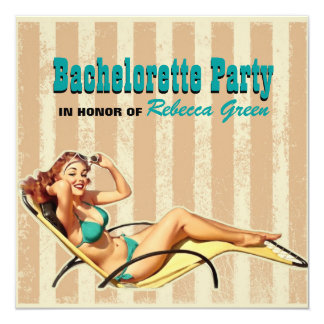 retro swimsuit pin up girl bachelorette party card