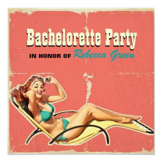 retro swimsuit pin up girl bachelorette party custom invite