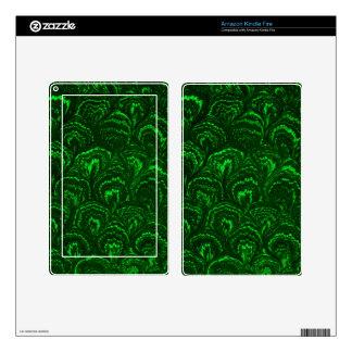 Retro Swirls Emerald Green Kindle Fire Skin
