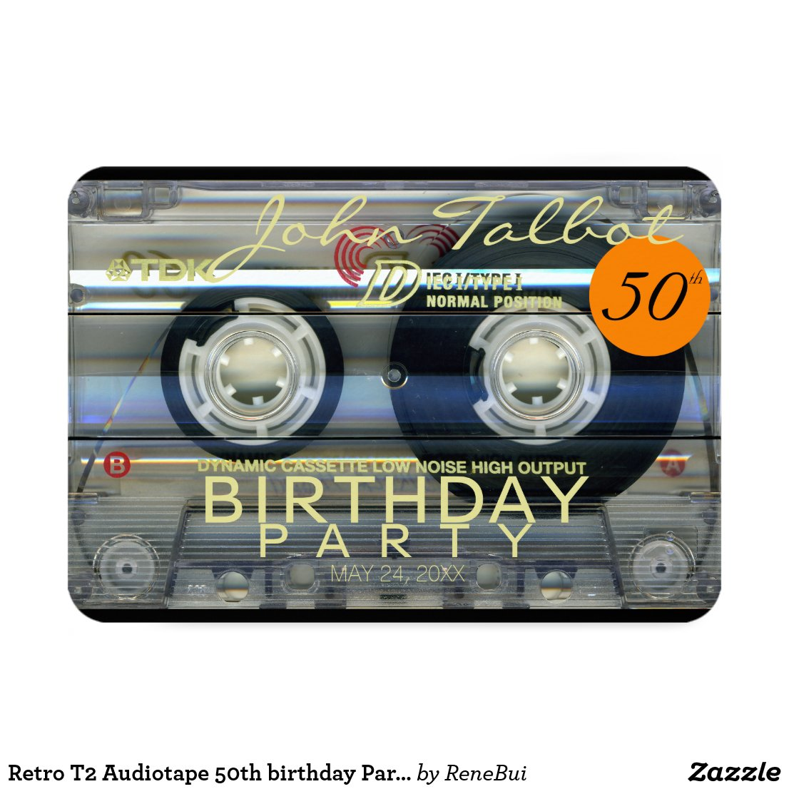 Retro T2 Audiotape 50th birthday Party Invitation