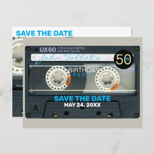 Retro T6 Audiotape 50th birthday Party Postcard