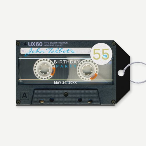 Retro T6 Audiotape 55th Birthday Thank You Gift T Gift Tags