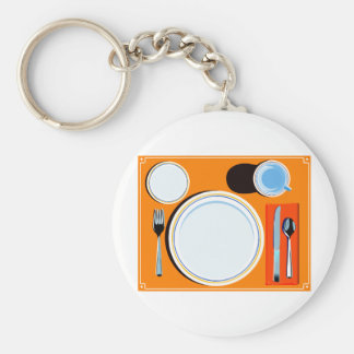 Retro Table Setting Basic Round Button Keychain