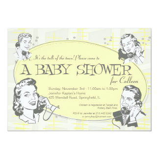 Retro Talk of the Town Baby Shower Invitation