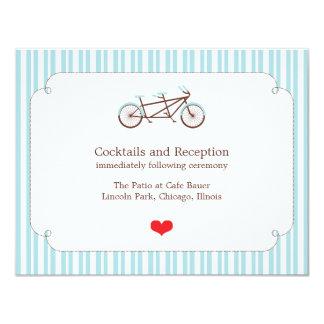 Retro Tandem Bicycle Blue & White Striped Wedding Card