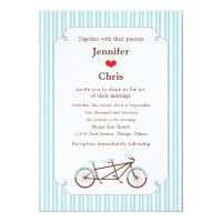 Retro Tandem Bicycle Blue & White Striped Wedding Card