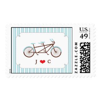 Retro Tandem Bicycle Blue & White Striped Wedding Postage