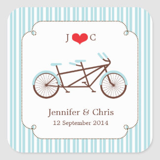 Retro Tandem Bicycle Blue & White Striped Wedding Square Sticker