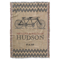 Retro Tandem Bicycle Zigzag Chevron Wedding Gift Throw Blanket