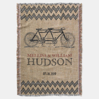 Retro Tandem Bicycle Zigzag Chevron Wedding Gift Throw Blanket