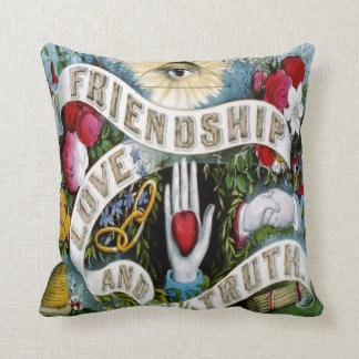 retro tattoo friendship love truth blue red pillow