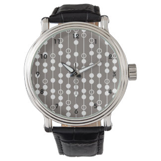 Retro Taupe and White Design Wrist Watches