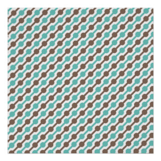 Retro Taupe Brown and Teal Green Pattern Posters