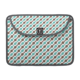 Retro Taupe Brown and Teal Green Pattern Sleeve For MacBook Pro