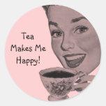 Retro Tea Classic Round Sticker
