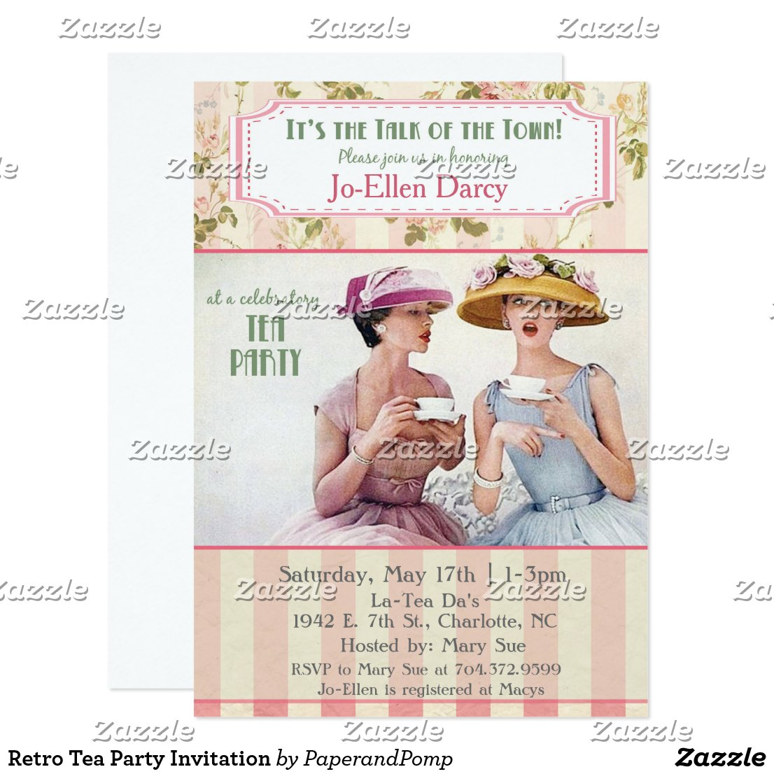 Retro Tea Party Invitation