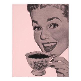 """Retro Tea Party 4.25"""" X 5.5"""" Invitation Card"""