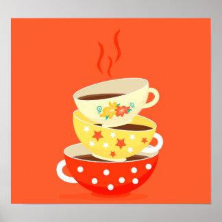 Retro Tea Party vintge tea cups Poster
