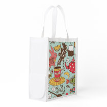 Retro Tea Time Tea Party Kitchen Breakfast Pattern Grocery Bag