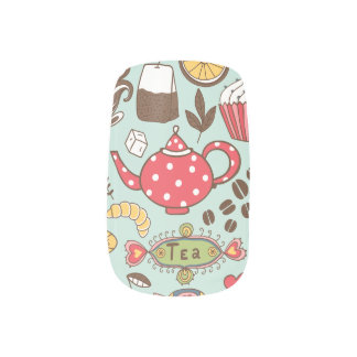 Retro Tea Time Tea Party Kitchen Breakfast Pattern Minx Nail Wraps