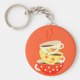 Retro tea vintage tea cups whimsical art basic round button keychain