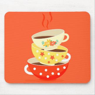 Retro tea vintage tea cups whimsical art mouse pad