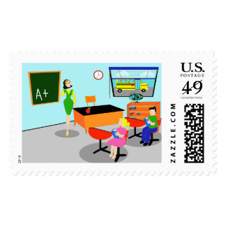 Retro Teacher Postage Stamps