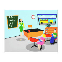 Retro Teacher Stretched Canvas Print