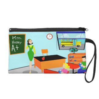 Retro Teacher Wristlet