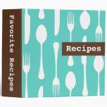 Retro teal aqua and brown kitchen recipe binder