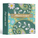 Retro teal, aqua paisley colorful floral recipe binder