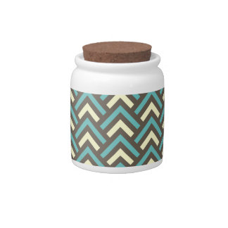 Retro Teal Blue Chevron Stripes Pattern Candy Dishes
