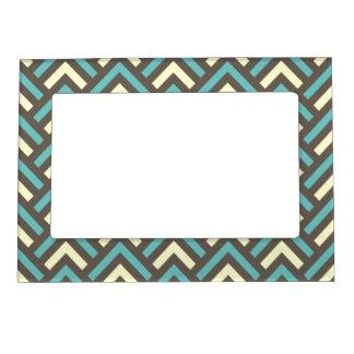 Retro Teal Blue Chevron Stripes Pattern Photo Frame Magnets