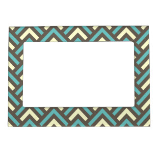 Retro Teal Blue Chevron Stripes Pattern Magnetic Picture Frame