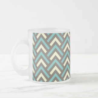 Retro Teal Blue Chevron Stripes Pattern 10 Oz Frosted Glass Coffee Mug