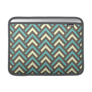 Retro Teal Blue Chevron Stripes Pattern Sleeve For MacBook Air