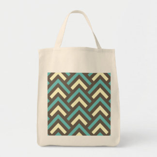 Retro Teal Blue Chevron Stripes Pattern Tote Bag