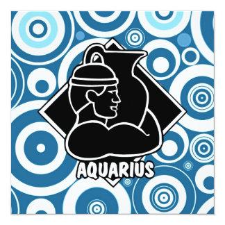 Retro Teal Blue Funky Aquarius Circles Pattern Card