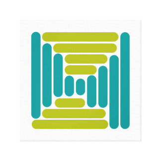 Retro Teal Blue & Green Abstract Canvas Print