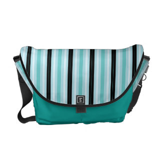 Retro Teal & Blue Stripes Messenger Bag