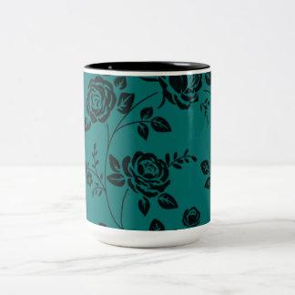 Retro_Teal_Floral(c)__Unisex Two-Tone Coffee Mug