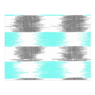 Retro teal gray abstract modern ikat pattern postcard