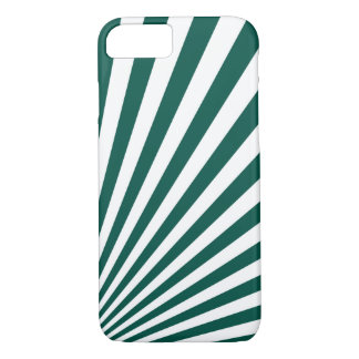 Retro Teal green Sun Rays Background iPhone 8/7 Case