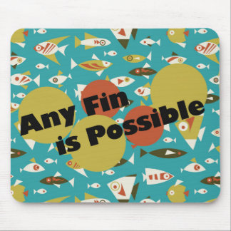 Retro Teal Orange Yellow Fish Anything is Possible Mouse Pad